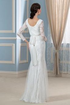 Robe de mariée Manche Longue Traîne Courte Fermeture éclair Grossesse