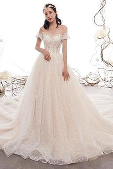 Robe de mariage A-ligne noble Naturel taille Perle Fermeture à glissière