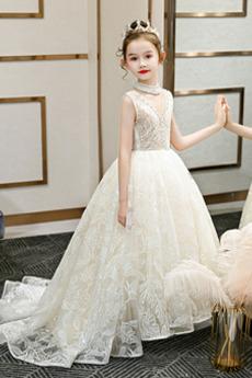 Robe de fille de fleur Perlé Été Sans Manches Naturel taille