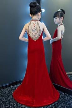Robe de fille de fleur Traîne Courte Médium Dos nu Chic Maigre