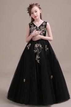 Robe de fille de fleur Sans Manches Formelle Tulle Manquant Longueur de plancher
