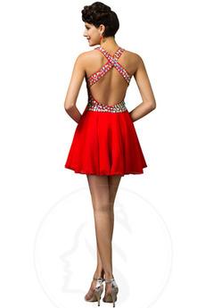Robe de bal A-ligne Sans Manches Sexy Courte Triangle Inversé