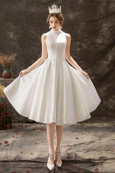 Robe de mariée Longueur de genou Col haut Sans Manches Été Plage