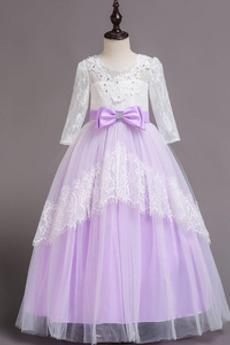 Robe de fille de fleur Manche Longue A-ligne Longueur Cheville
