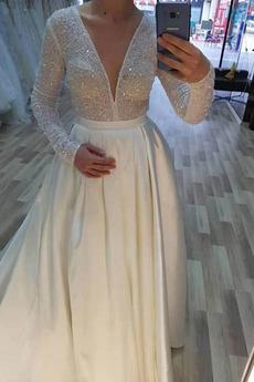 Robe de mariée Glissière Satin Étoilé A-ligne Scintillait Printemps