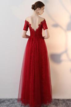 Robe de bal Tulle Médium Naturel taille Fête Rosée épaule Dentelle