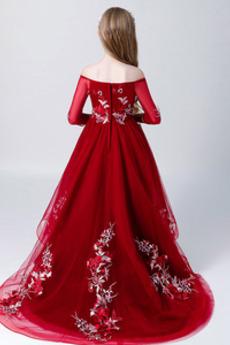 Robe de fille de fleur A-ligne Longue net Manche Aérienne Naturel taille