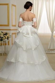 Robe de mariée Manche Courte A-ligne Naturel taille Romantique