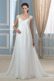 Robe de mariée Manche Courte Mousseline Automne taille haute