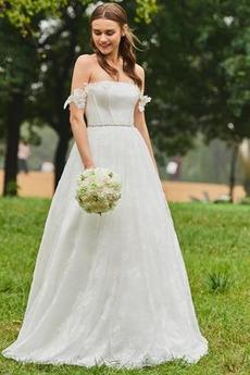 Robe de mariée Perler Naturel taille Jardin Été Train de balayage