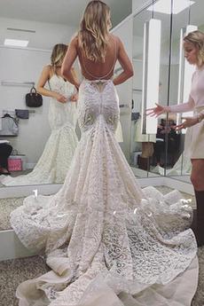 Robe de mariée Sirène Elégant Longue Bretelles Spaghetti net
