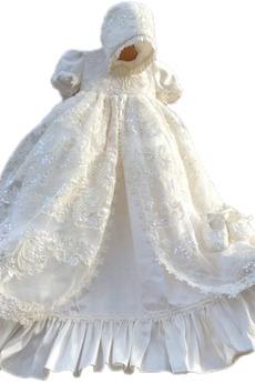 Robe de fille de fleur Luxueux Dentelle Haute Couvert Lanterne