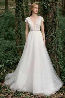 Robe de mariée Dentelle Fermeture à glissière Manche Courte Petites Tailles