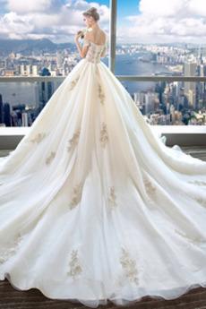 Robe de mariée Broderie Couvert de Dentelle Salle Printemps Manche Courte