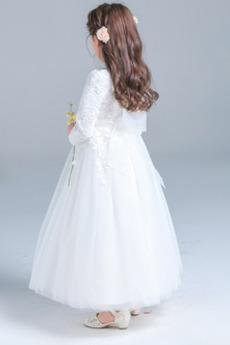Robe de fille de fleur Décalcomanie a ligne Fermeture à glissière