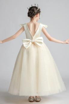 Robe de fille de fleur Glamour Sans Manches aligne Drapé Orné de Nœud à Boucle