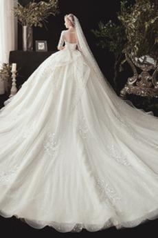 Robe de mariage Vintage Longue Laçage Couvert de Dentelle gossamer