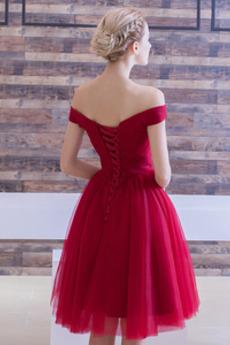 Robe de demoiselle d'honneur Tulle Drapé Fourreau plissé Rosée épaule