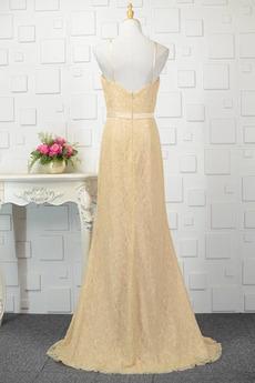 Robe de demoiselle d'honneur Longue Sans Manches Naturel taille