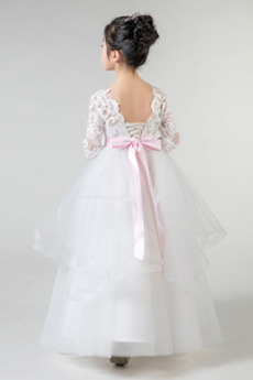 Robe de fille de fleur A-ligne Manquant Col de chemise t Ceinture en Étoffe