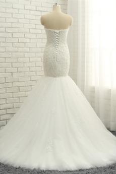Robe de mariée Appliquer Sans bretelles Sans Manches De plein air