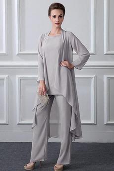 Robe mères Manche Longue Formelle Chiffon Un Costume Festin Haute Couvert