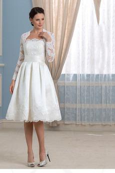 Robe de mariée Chic A-ligne haut bustier tube Longueur de genou