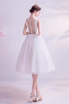 Robe de mariage Gaze A-ligne Attache Naturel taille Manquant