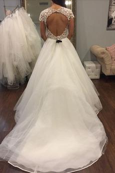 Robe de mariée Manche Courte Sablier Tulle Longueur de plancher