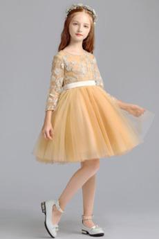 Robe de fille de fleur Col de chemise t A-ligne Fermeture éclair