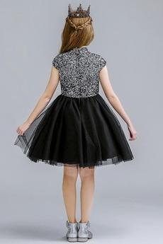 Robe de fille de fleur A-ligne Manche Courte Longueur de genou