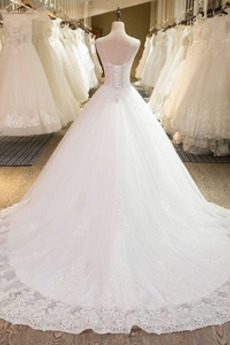 Robe de mariée Dentelle Col Bateau Naturel taille Tulle Médium
