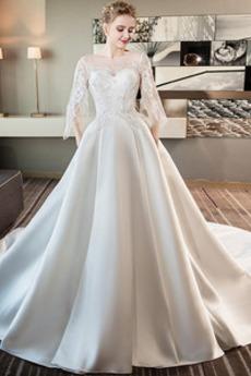 Robe de mariée Hiver Médium Lacez vers le haut A-ligne Formelle