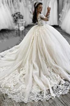 Robe de mariée A-ligne Formelle Eglise Manche de T-shirt Naturel taille