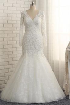 Robe de mariée Sirène Naturel taille Formelle Manche Aérienne