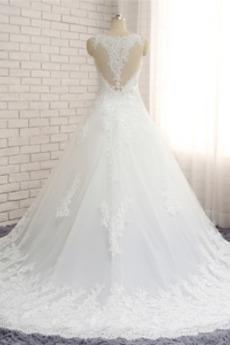 Robe de mariée Dentelle A-ligne semi-couverte Sans Manches Elégant
