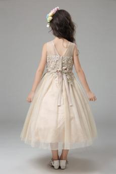 Robe de fille de fleur Printemps Longueur Mollet Fermeture éclair