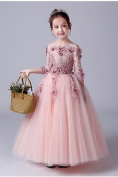 Robe de fille de fleur A-ligne Médium Manche Aérienne Cérémonial