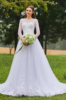 Robe de mariée Dramatique Naturel taille Dentelle Traîne Longue