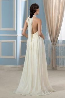 Robe de mariée Dos nu Ceinture en Étoffe Rivage Fourreau plissé