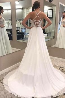 Robe de mariage Naturel taille Laçage Elégant Été aligne Bretelles Spaghetti