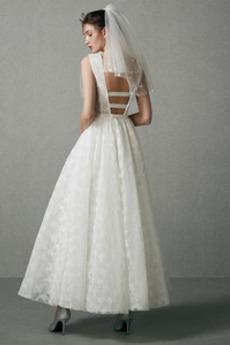 Robe de mariée Simple Col Bateau Drapé A-ligne Naturel taille