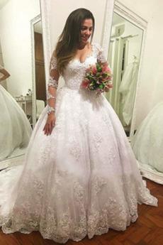 Robe de mariée Manche Longue Manquant A-ligne Col en V Gaze Naturel taille