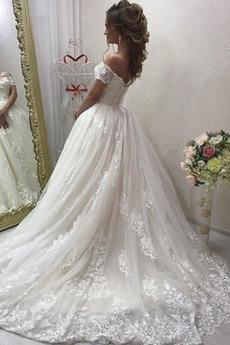 Robe de mariée Elégant Médium Manche Courte Traîne Courte Rosée épaule