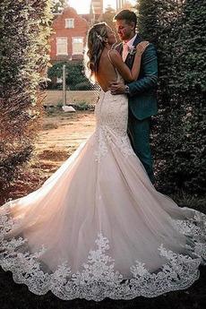 Robe de mariée Tulle Longue Sans Manches Bretelles Spaghetti