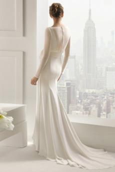 Robe de mariée Naturel taille Manche Longue Mince Epurée Col Bateau