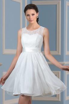 Robe de mariée Longueur de genou Sans Manches Mince Gaze Rivage