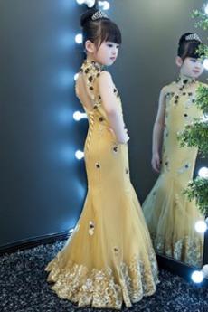 Robe de fille de fleur Médium Taille chute Montrer Printemps