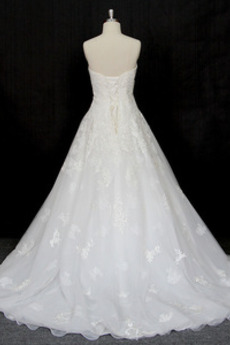 Robe de mariée Taille haute Perle Longue Laçage Sans Manches