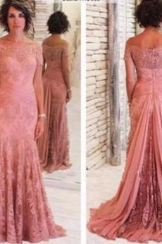 Robe mères Tulle Couvert de Dentelle Rosée épaule A-ligne Norme